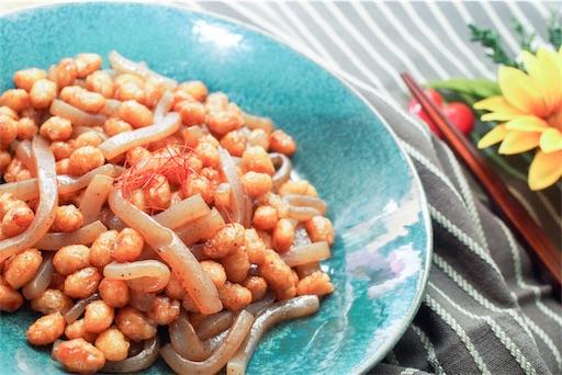 こんにゃくと大豆の煮物