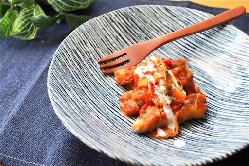 豚薄切り肉のトマト煮込み