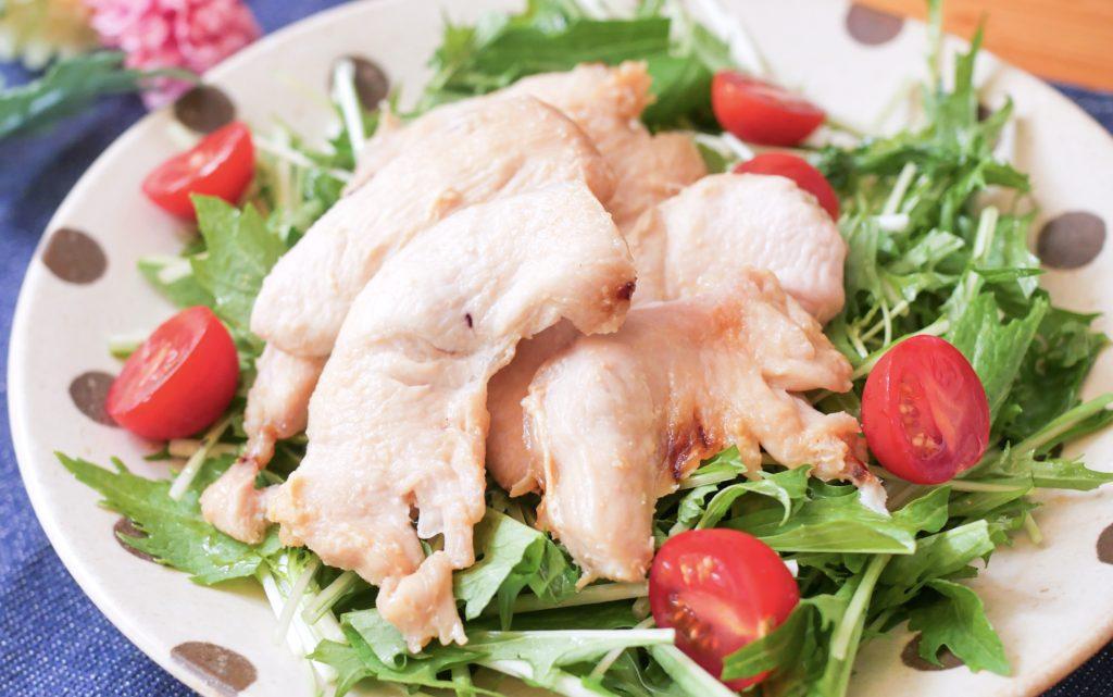 鶏むね肉の味噌漬けサラダ