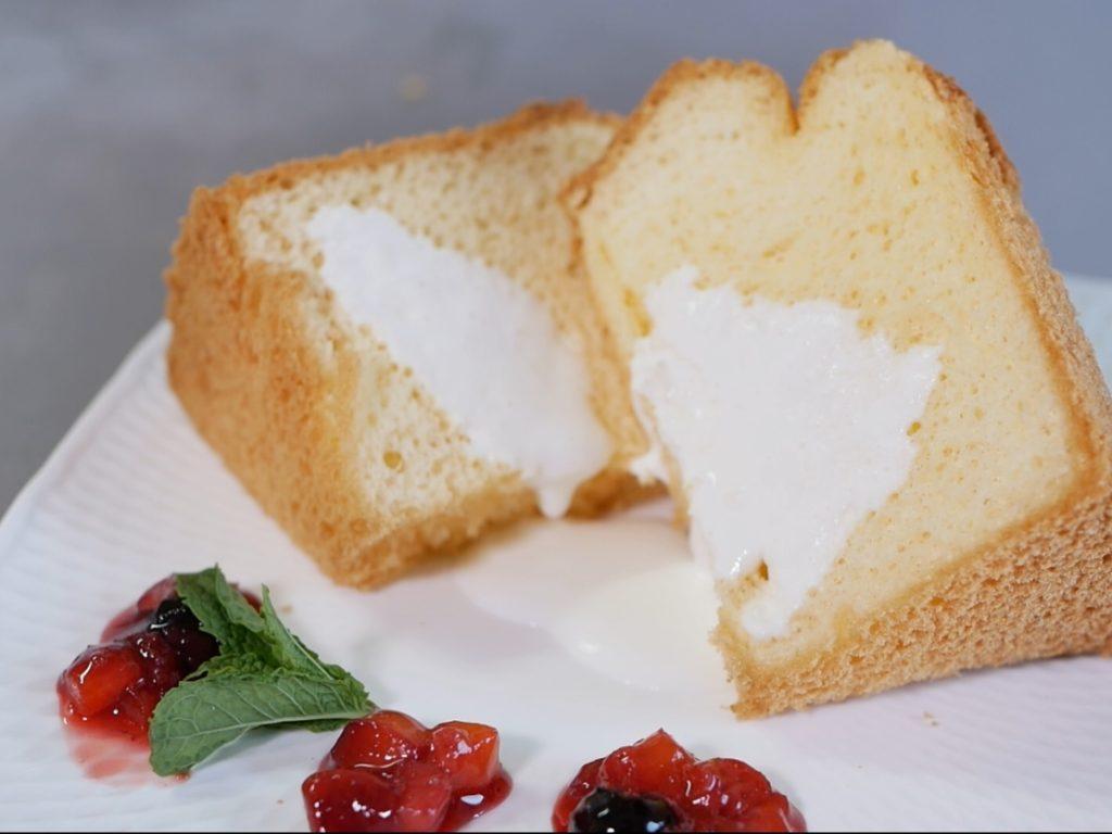 シフォンケーキの盛り付け例