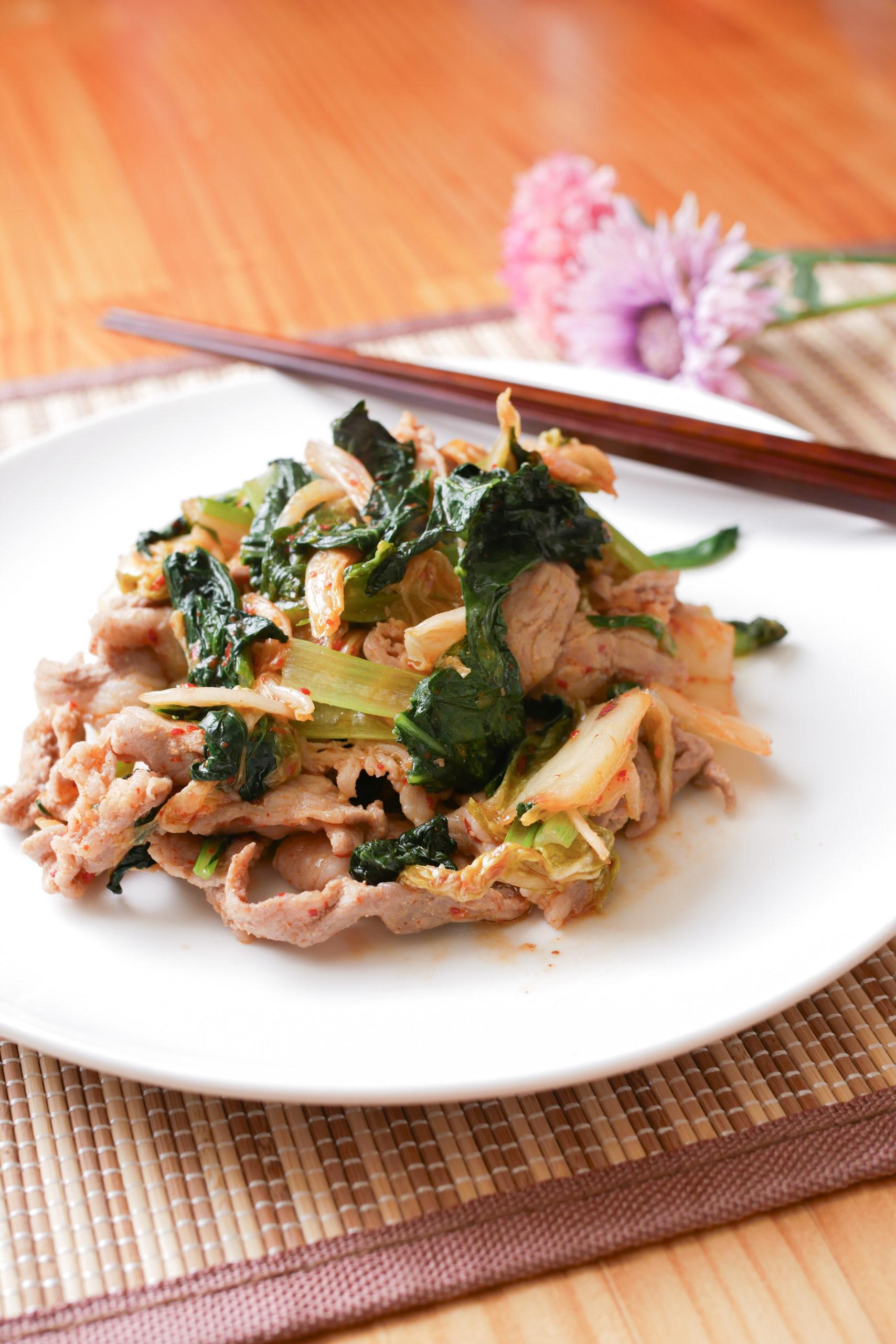 小松菜入りで美味しい豚キムチ