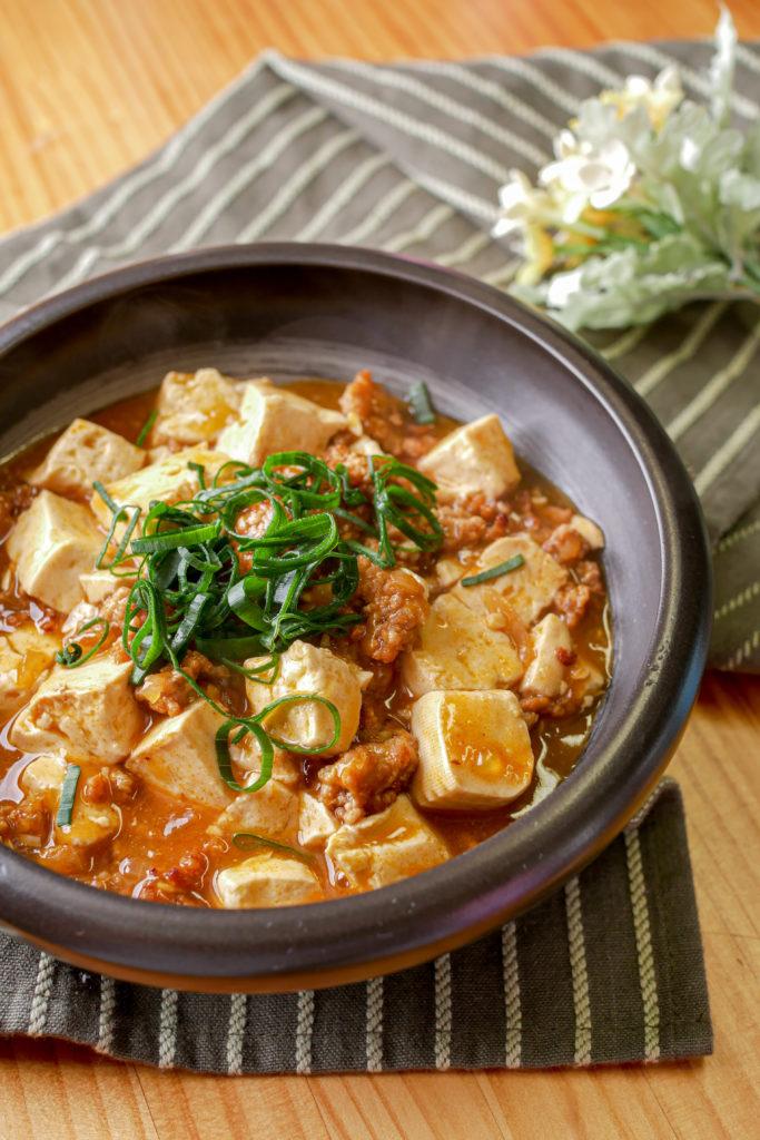 麻婆豆腐の盛り付け例